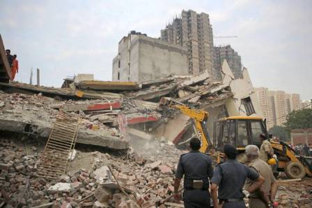 Under construction building collapses in Noida