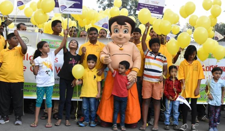 ActressMahie Gill, flagged off the awareness walk on 'Children's Eye Care Week'
