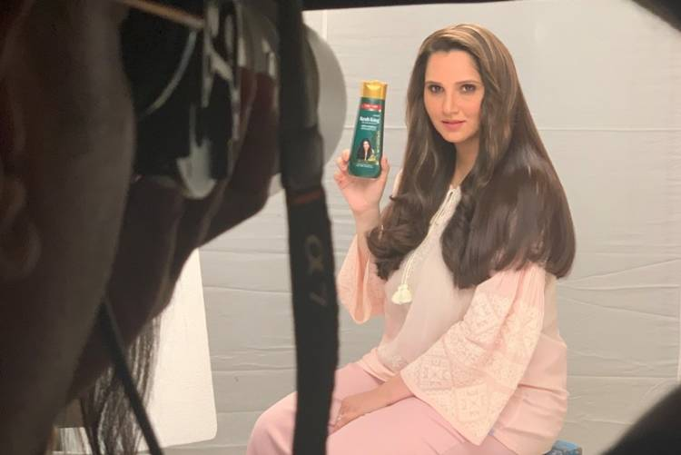 Sania Mirza shooting her first TVC post her child birth for Kesh King