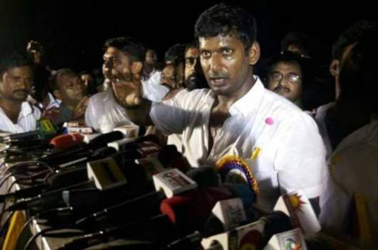 முதலமைச்சர் பழனிசாமியை சந்தித்து நடிகர் விஷால் கோரிக்கை