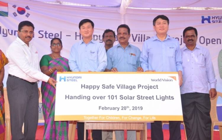 Hyundai Steel and World Vision India installs solar powered Street Lights in Tamil Nadu