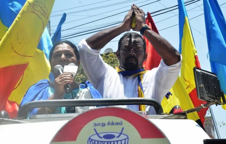 Premalatha Vijayakanth campaigning for Dr. Sam Paul at Mint Street today Morning