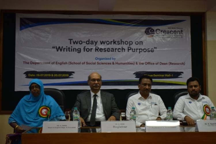 A two-day workshop on 'Writing for Research Purpose' (19 & 20 JULY 2019)