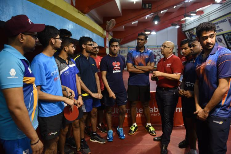 Indian table tennis team practices for Olympic qualifier at SDAT AKG, Nehru Stadium