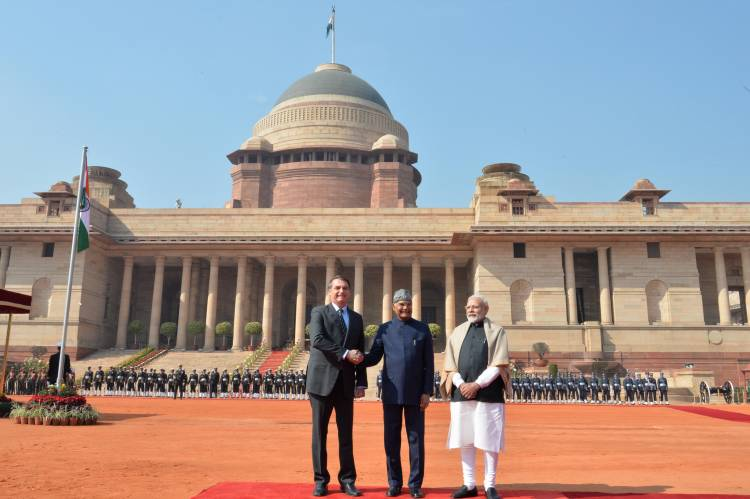 President Kovind accorded a ceremonial welcome to President of Brazil at Rashtrapati Bhavan