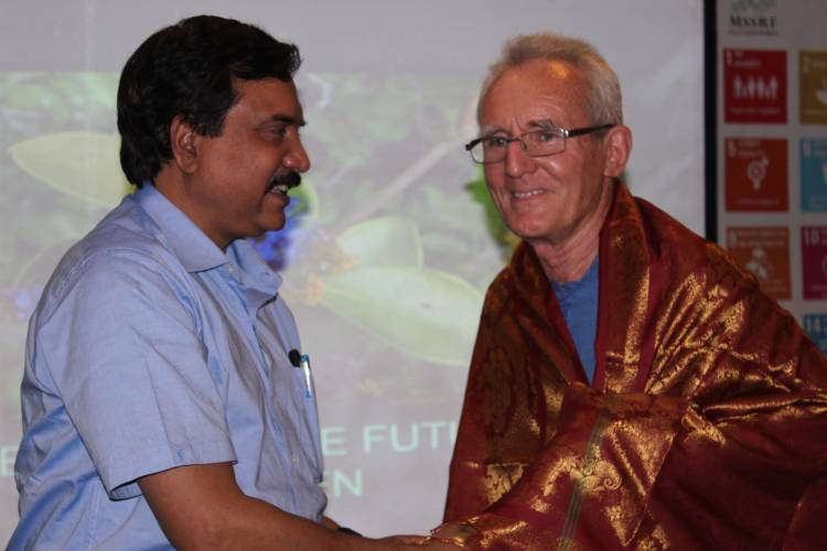 Confer Auroville 'University of Peace' status: Prof Swaminathan at lecture of Mr Joss Brooks