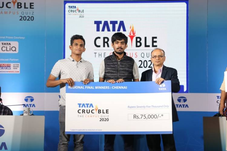 Team from IIT Madras emerge victorious at Chennai Regional Finals of Tata Crucible Campus Quiz 2020