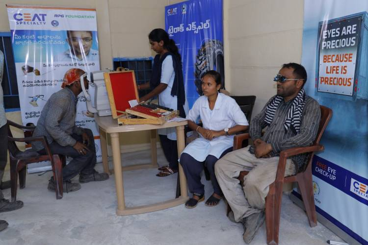 CEAT Specialty Tyres conducts free eye check-up camp for mining truck drivers in Ramagundam