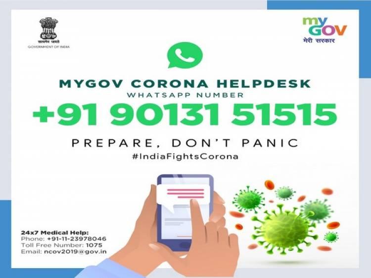 Centre launches MyGov Corona Helpdesk on WhatsApp