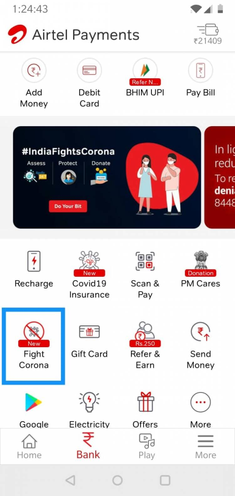 Airtel Payments Bank creates a dedicated 'Fight Corona' section in Airtel Thanks app