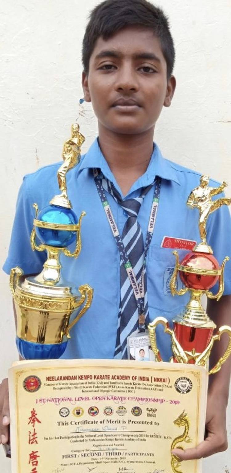 வேலம்மாள் பள்ளி மாணவர் கெம்போ கராத்தே போட்டியில் தேசிய அளவில் இரண்டாம் இடம்