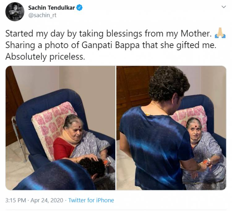 Started my day by taking blessings from my mother-Sachin Tendulkar