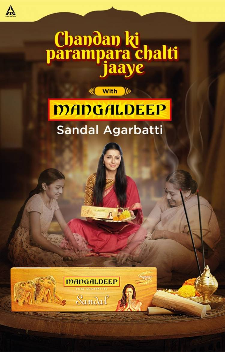 """ITC's Mangaldeep Agarbattis brand Launches a new TVC """"The Tradition of Sandal"""" starring Bhumika Chawla"""