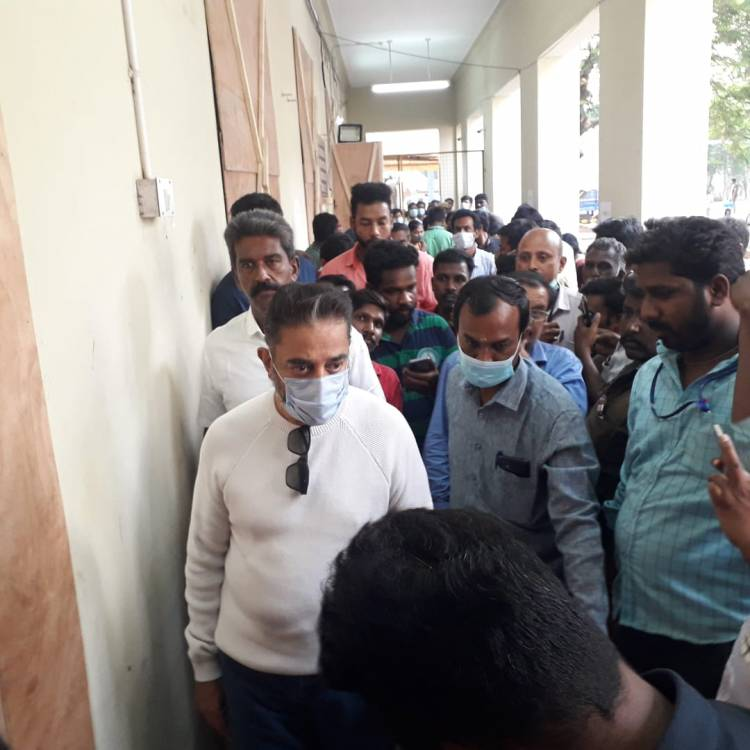 Makkal Needhi Maiam party President Mr. Kamal Haasan visited the Ballot boxes storage point in GCT College, Coimbatore - 7.4.2021