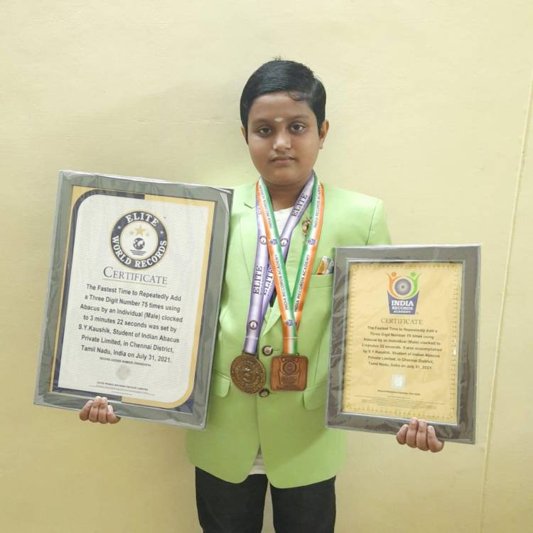 VELAMMAL STUDENT SETS WORLD RECORD IN ABACUS