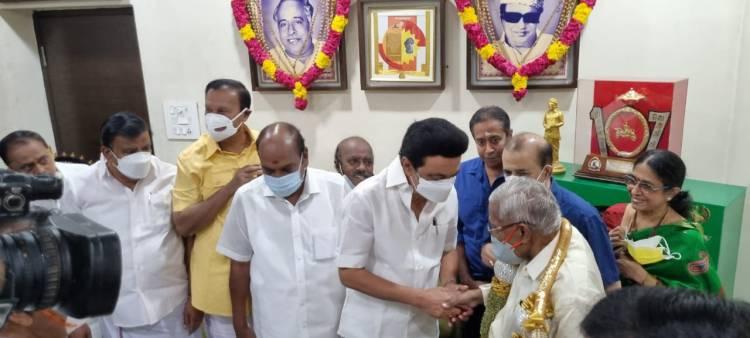 CM MK Stalin visits Arulalar RMV at his Tnagar home with former central ministers Jagathratchagan and T R Baalu